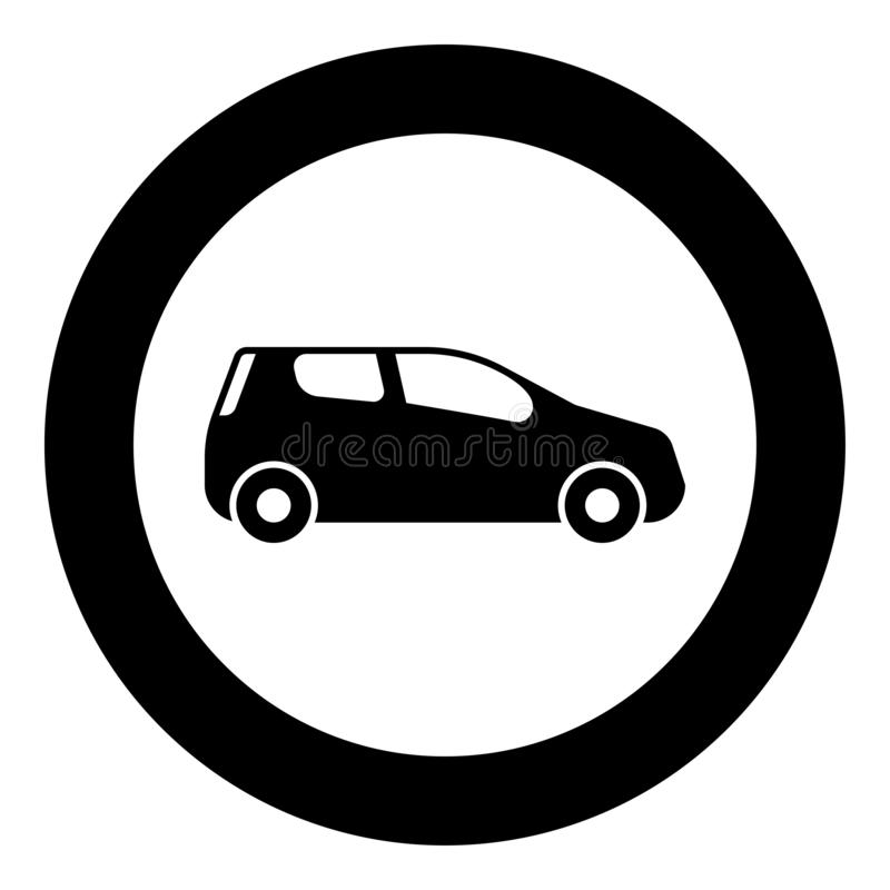 Mini car Compact shape for travel racing icon black color illustration in circle round. Mini car Compact shape for travel racing icon black color vector stock illustration