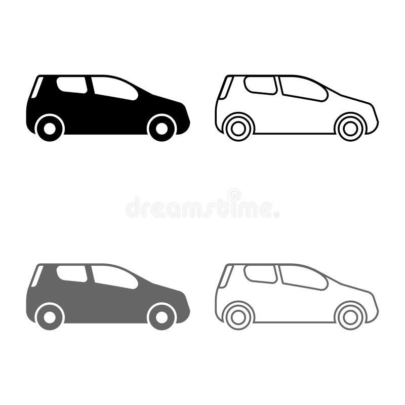Mini car Compact shape for travel racing icon set grey black color illustration outline flat style simple image. Mini car Compact shape for travel racing icon stock illustration