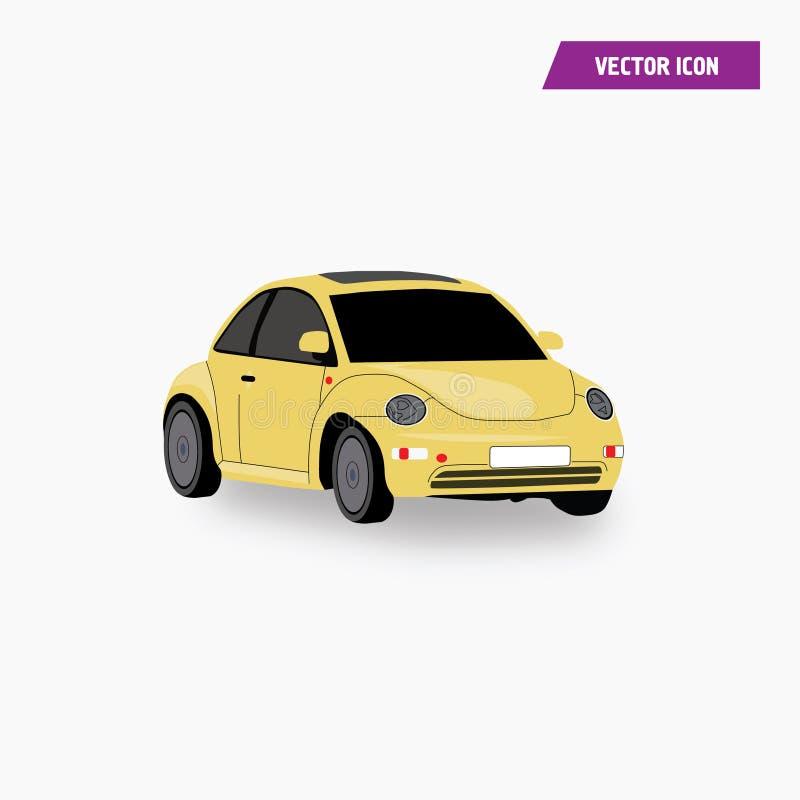 Mini Car Coupe Icon amarelo com vetor da cor ilustração royalty free