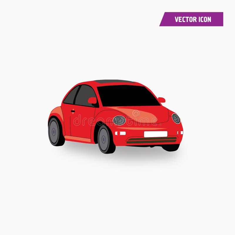 Mini Car Coupe Icon vermelho com vetor da cor ilustração stock
