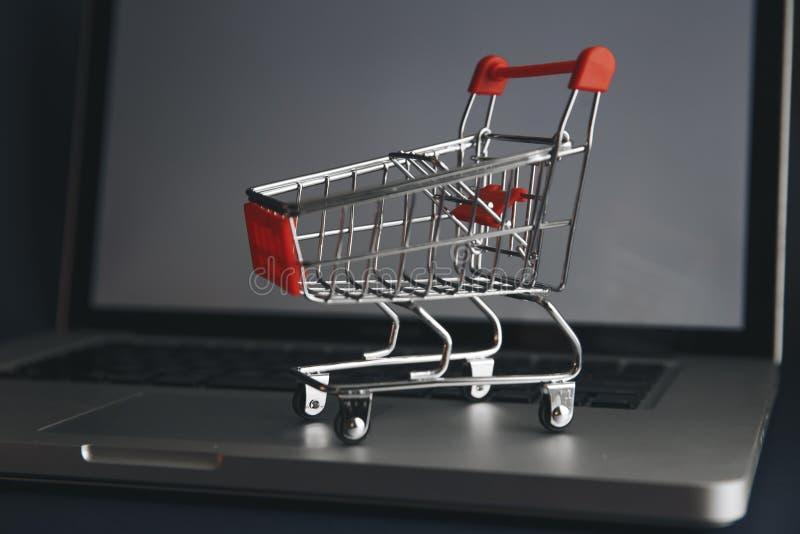 Mini carro de la compra por completo de remedios homeopáticos en fondo del ordenador portátil Concepto en línea de las compras de fotos de archivo