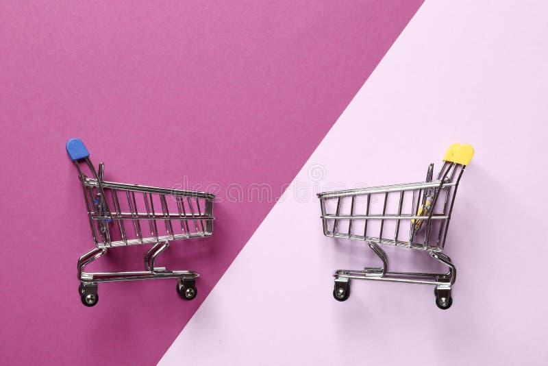 Mini carros de la compra del Wo en un fondo púrpura imágenes de archivo libres de regalías