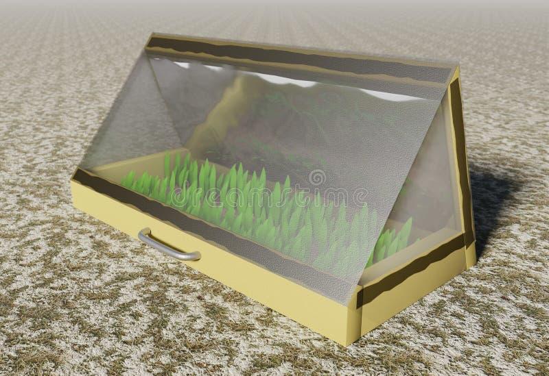 Mini casa morna para plântulas crescentes na ilustração adiantada da mola 3d ilustração royalty free
