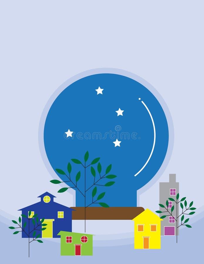 Mini case variopinte con il globo della neve del cielo e della stella illustrazione di stock