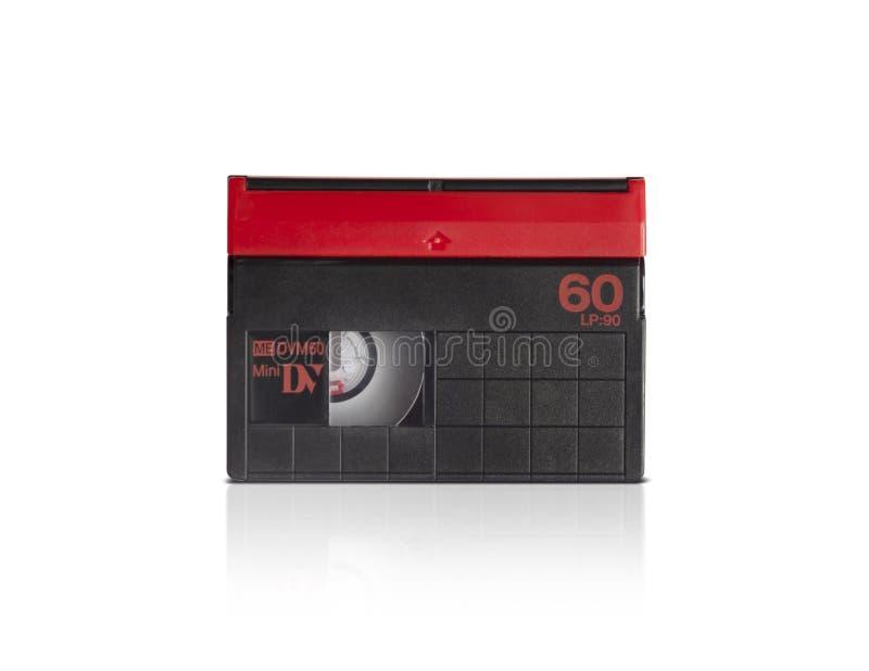 Mini cassette de DV sur le fond blanc image stock