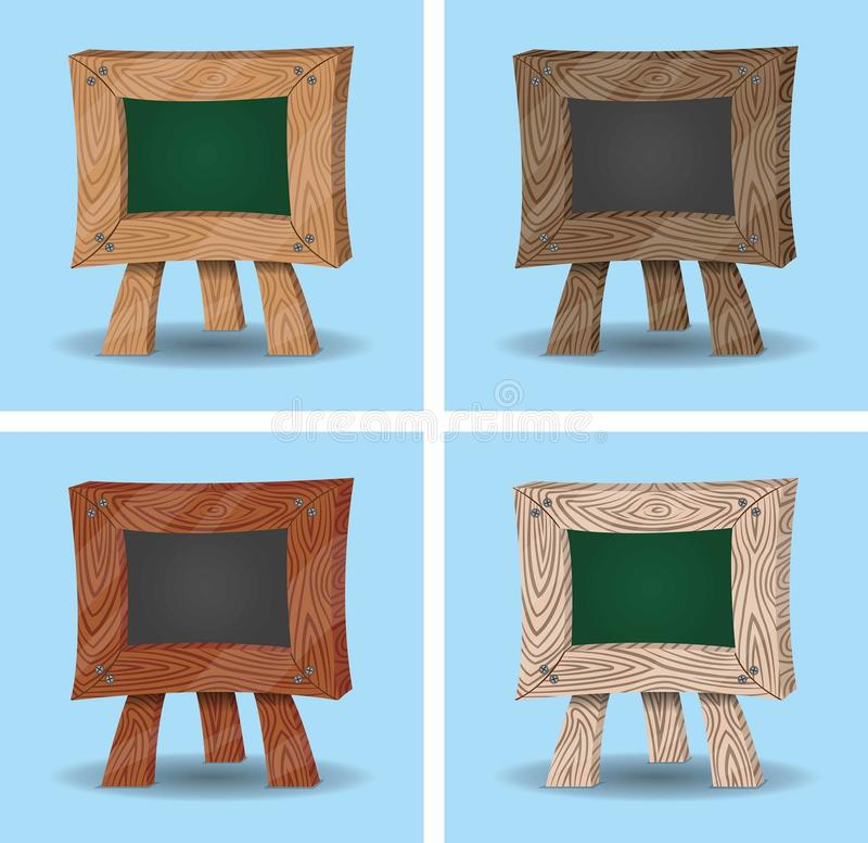 Mini Chalkboard Cartoons - en bois illustration libre de droits