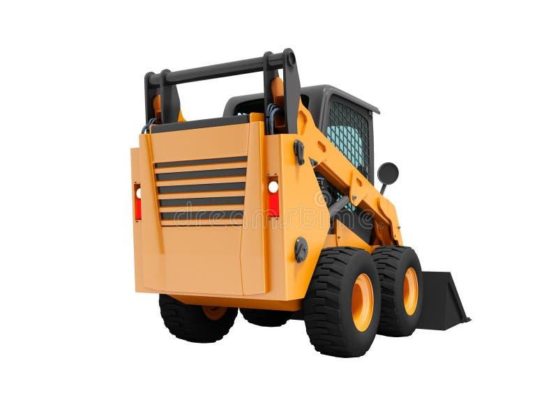 Mini chargeur orange moderne sur le dos avec le cavalier 3d noir sur le fond blanc aucune ombre illustration libre de droits