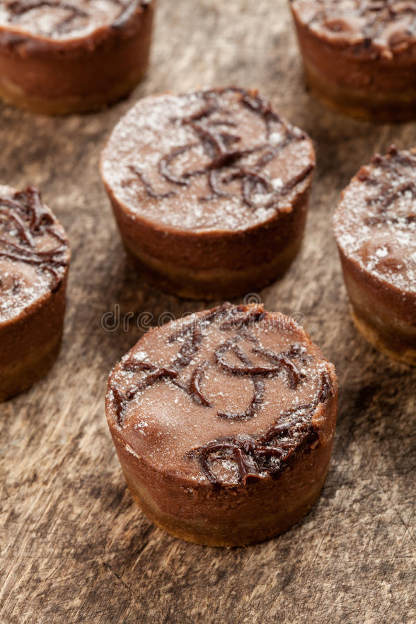 Mini chocoladeKaastaarten stock afbeeldingen