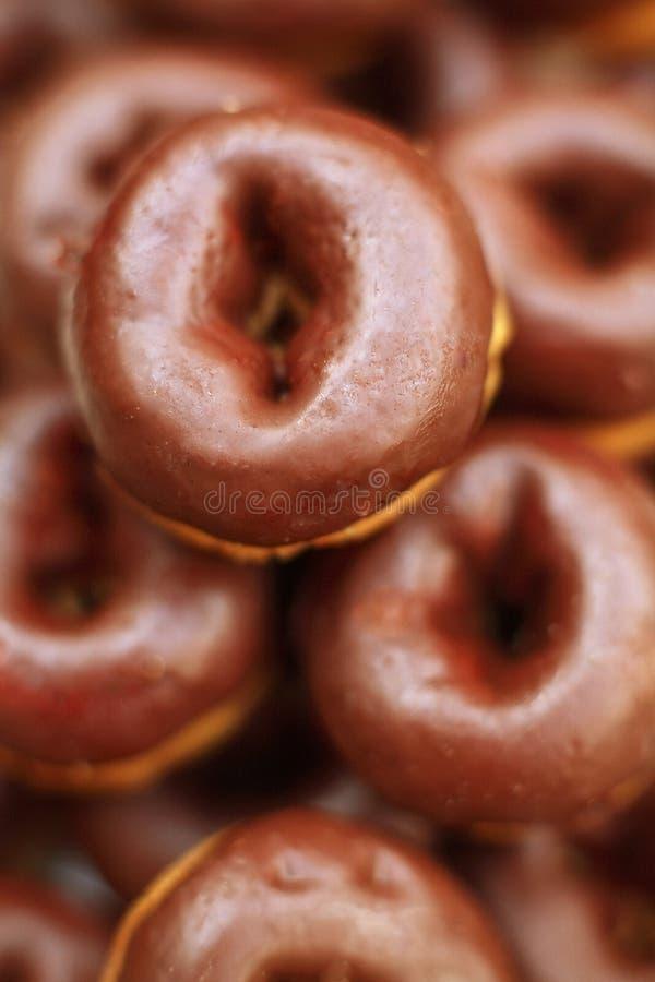 Mini chocolate donoughts stock photo