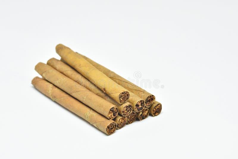 Mini Cigar sur le fond blanc images libres de droits