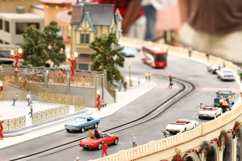 Mini city. Miniaturized city with cars parked along the roads royalty free stock photo