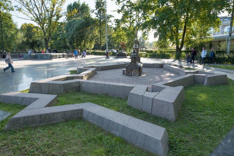 Mini City i Alexander Park fästningpaul peter petersburg st Ryssland arkivbilder