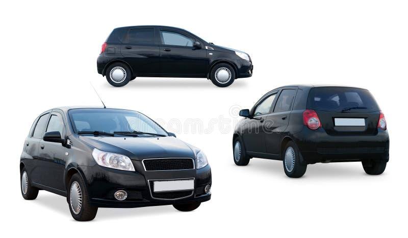 Mini coche negro aislado Maqueta de marcado en caliente del vehículo Lado, frente, visión trasera fotografía de archivo