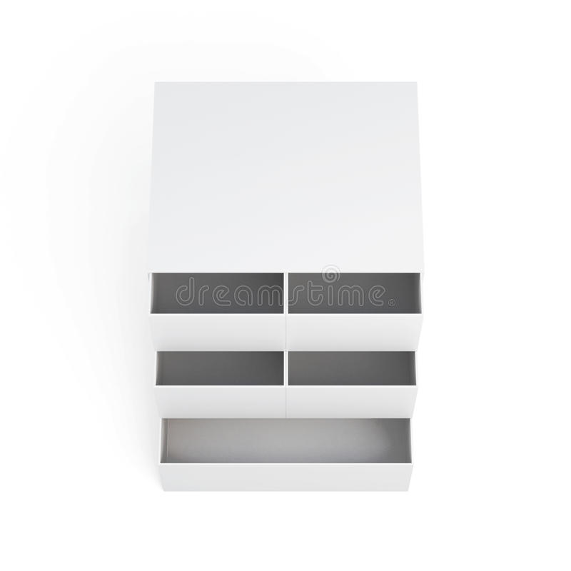 Mini coffre des tiroirs d'isolement sur un fond blanc renderi 3D illustration libre de droits