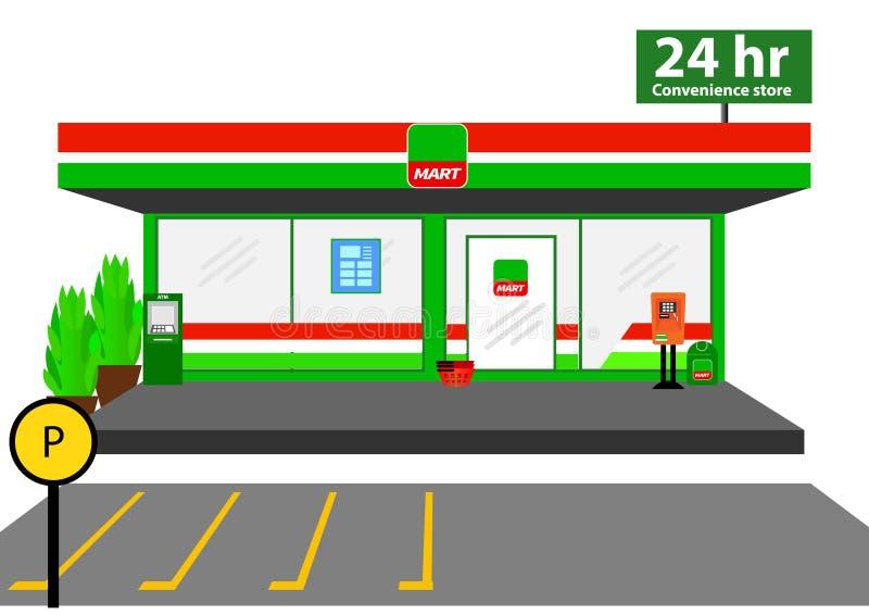 Mini commerce de détail de façade de boutique du marché 24 heures illustration de vecteur