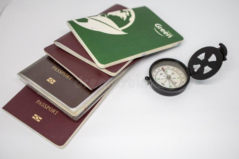 Mini Compass et sort de passeport photos libres de droits