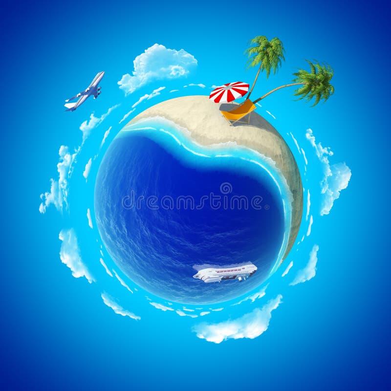 Mini conceito do planeta. Holiays da costa de mar. ilustração royalty free