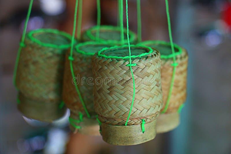 Mini contenitore di bambù immagini stock
