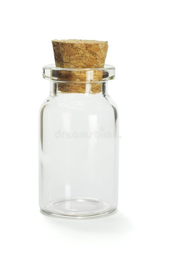 Mini contenitore di vetro vuoto fotografia stock