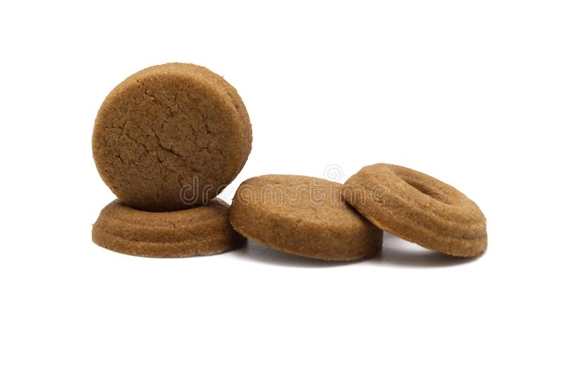 Mini cookies Chocolate malt flavored. stock photos