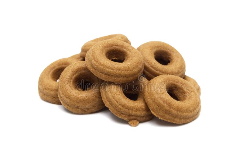Mini cookies Chocolate malt flavored. Biscuits of crunchy delicious sweet meal and useful cracker. royalty free stock image