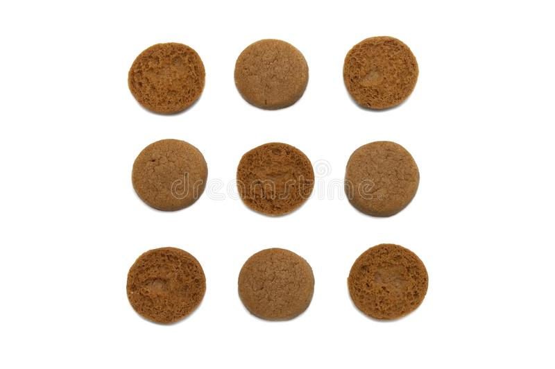 Mini cookies Chocolate malt flavored. Biscuits of crunchy delicious sweet meal and useful cracker. stock photography