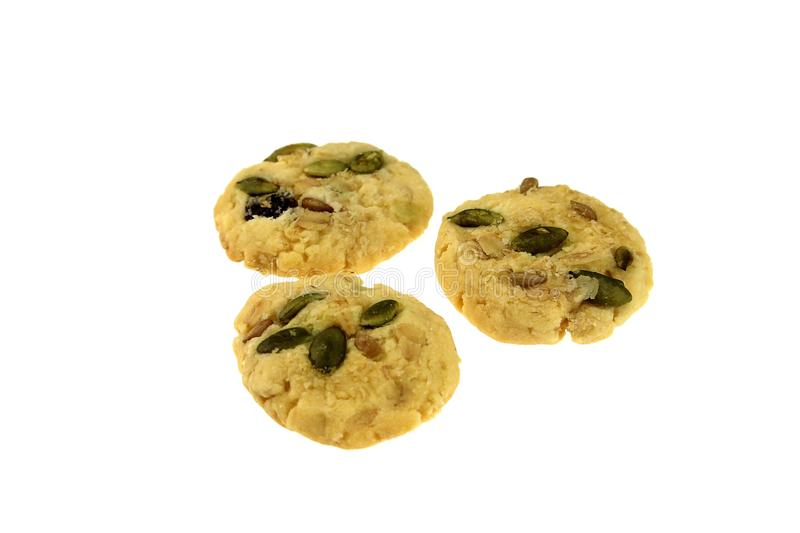 Mini cookies on white background royalty free stock images