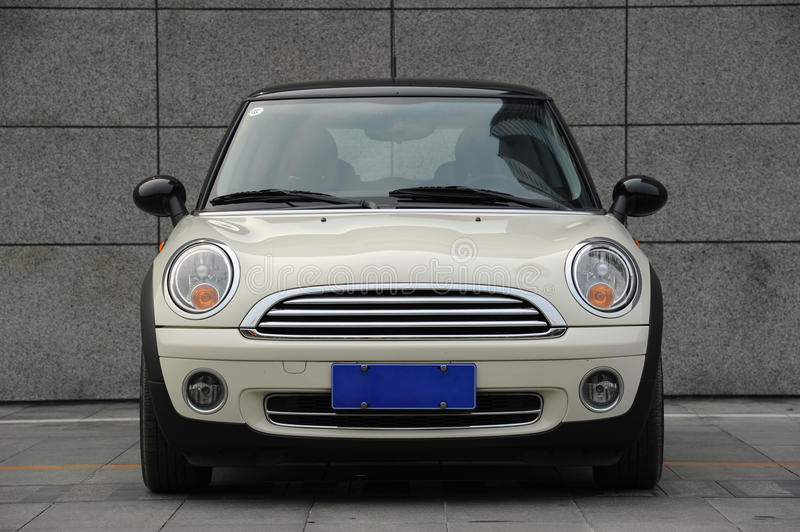 Mini Cooper. Fun, a unique car with classical design. front wiew royalty free stock photos