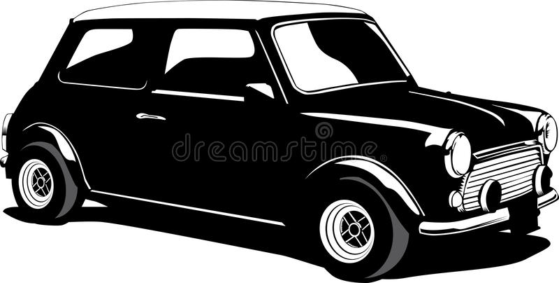 Mini cooper. Black and white vintage illustration of a mini cooper