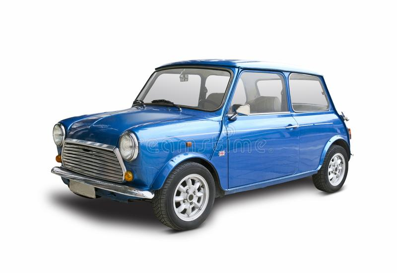Mini Cooper bleu classique d'isolement sur le blanc photo stock