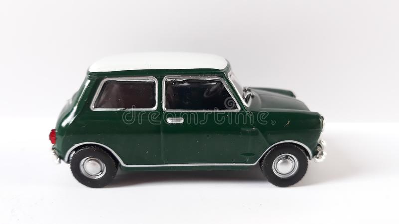 Mini cooper car green. Picture of mini cooper s green toy mr.bean royalty free stock images