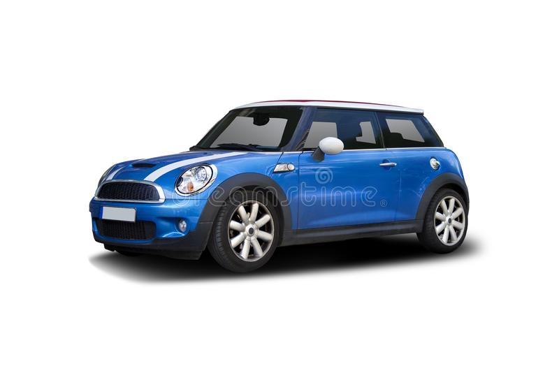 Mini Cooper. New blue Mini Cooper isolated on white royalty free stock photo