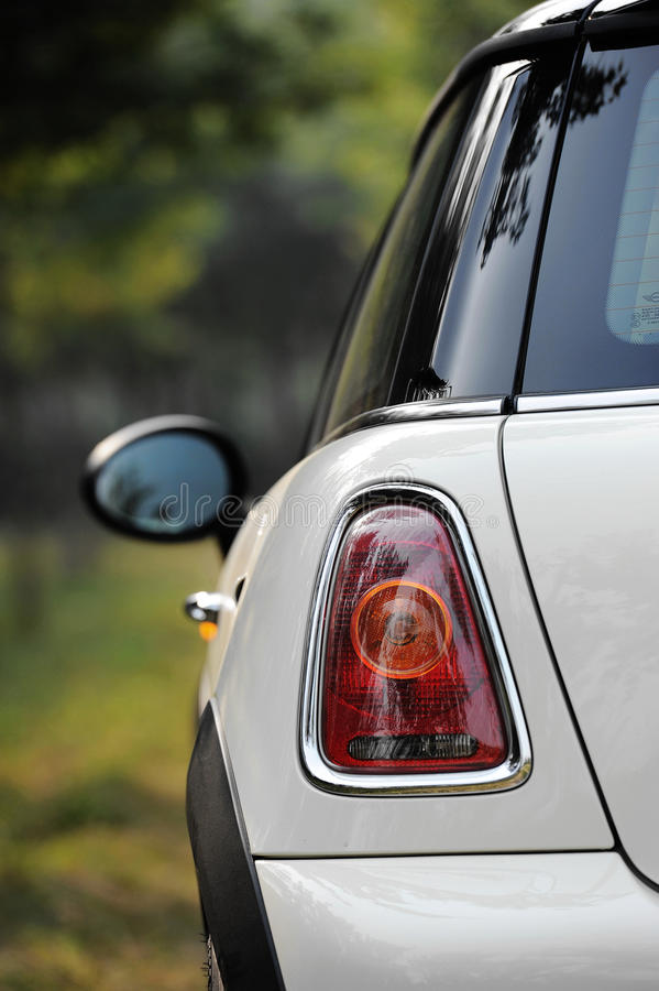 Mini Cooper,Part. Mini cooper fun, a unique car with classical design. Part of back view stock images