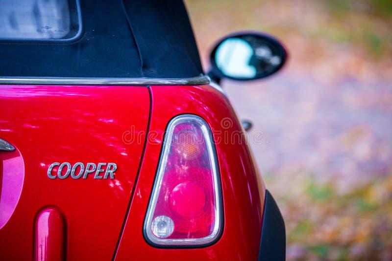 Mini cooper red. Car back part stock image