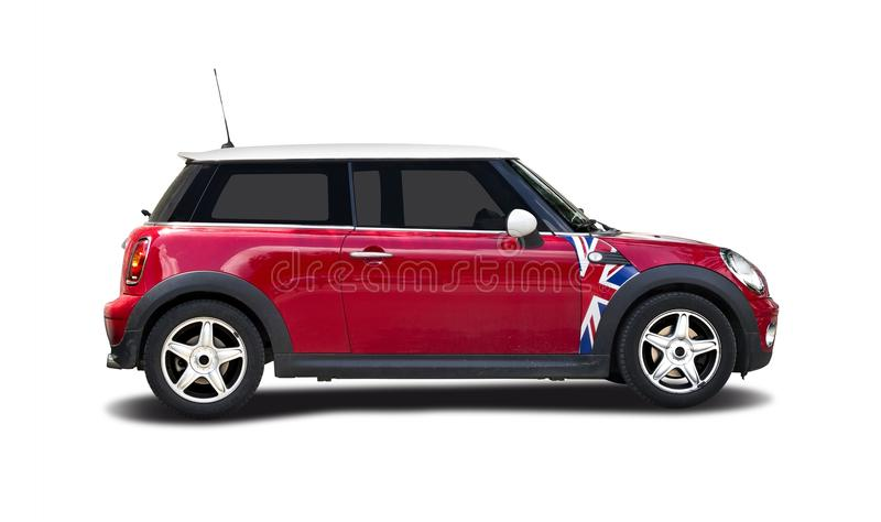 Mini cooper red. Red new Mini Cooper isolated on white royalty free stock images