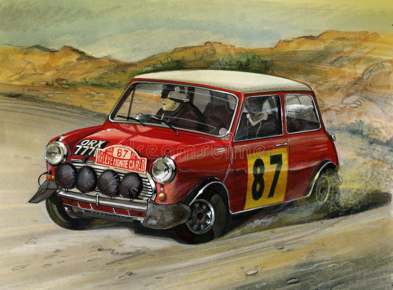 Mini Cooper S Monte Carlo Rally 1964 ilustração do vetor