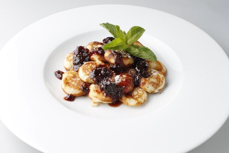 Mini Crepe. Pancakes with jam stock photos