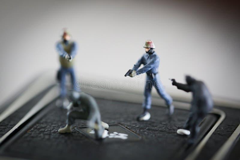 Mini Criminal Policeman Crowd royalty-vrije stock afbeelding