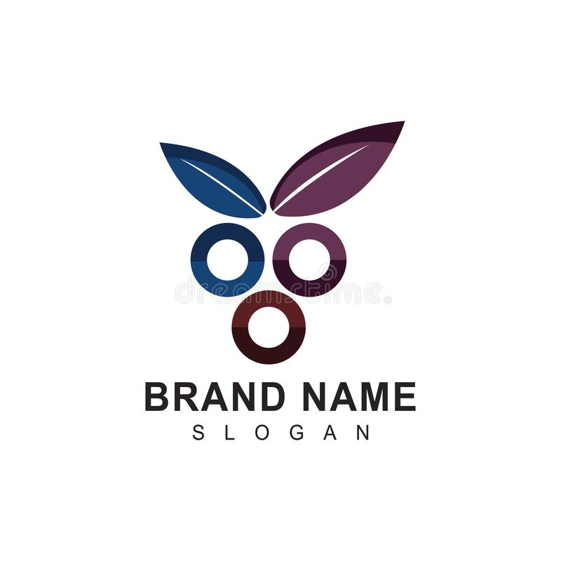 Mini diseño profesional moderno del logotipo de las uvas libre illustration