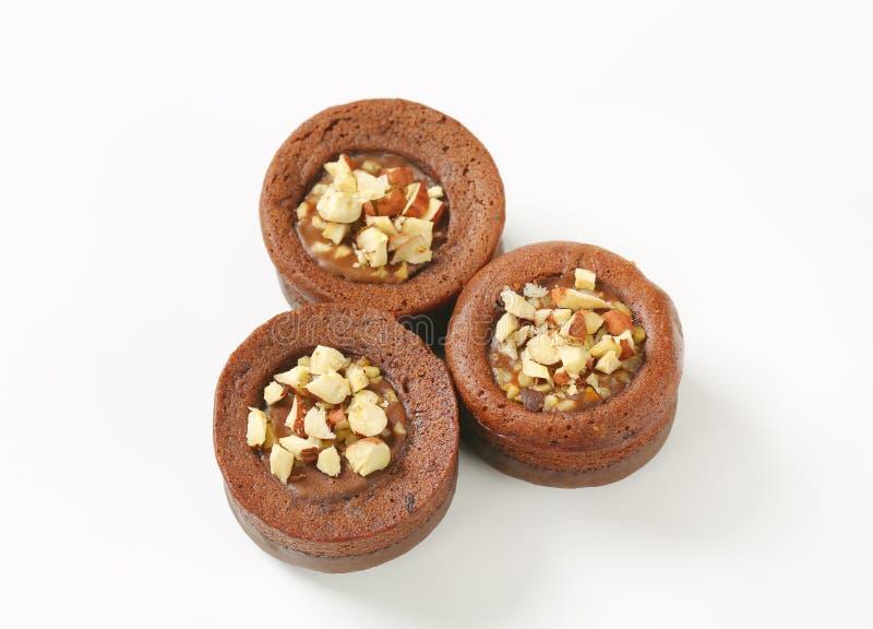 Mini dolci della nocciola del cioccolato fotografie stock