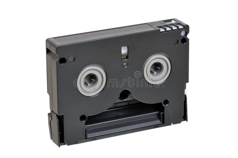 Mini DV cassette. back side stock photo