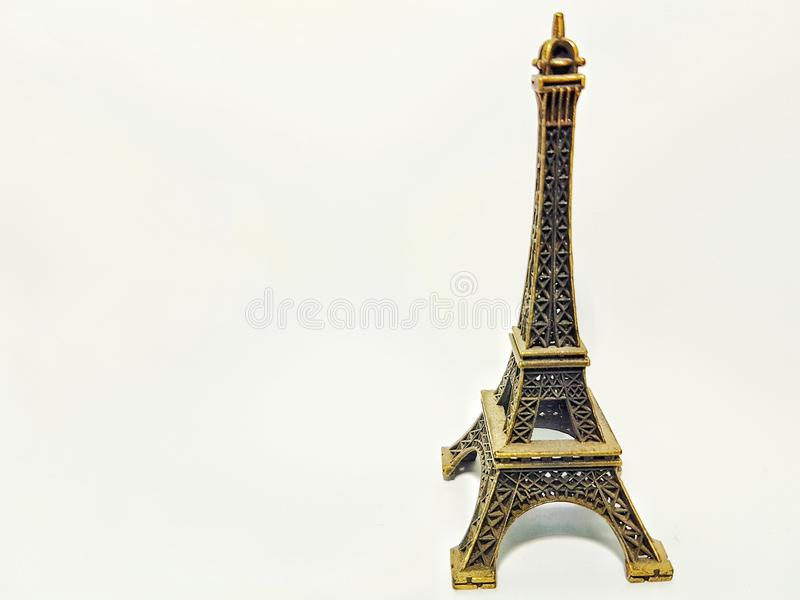 Mini Eiffel Tower white background stock photography