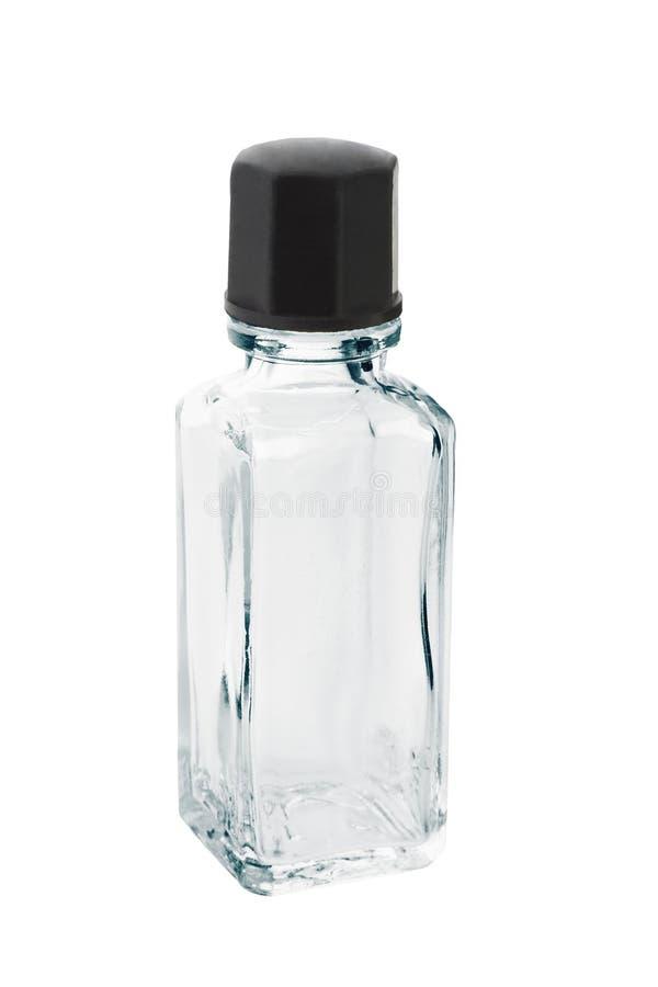 Mini empty glass bottle stock images