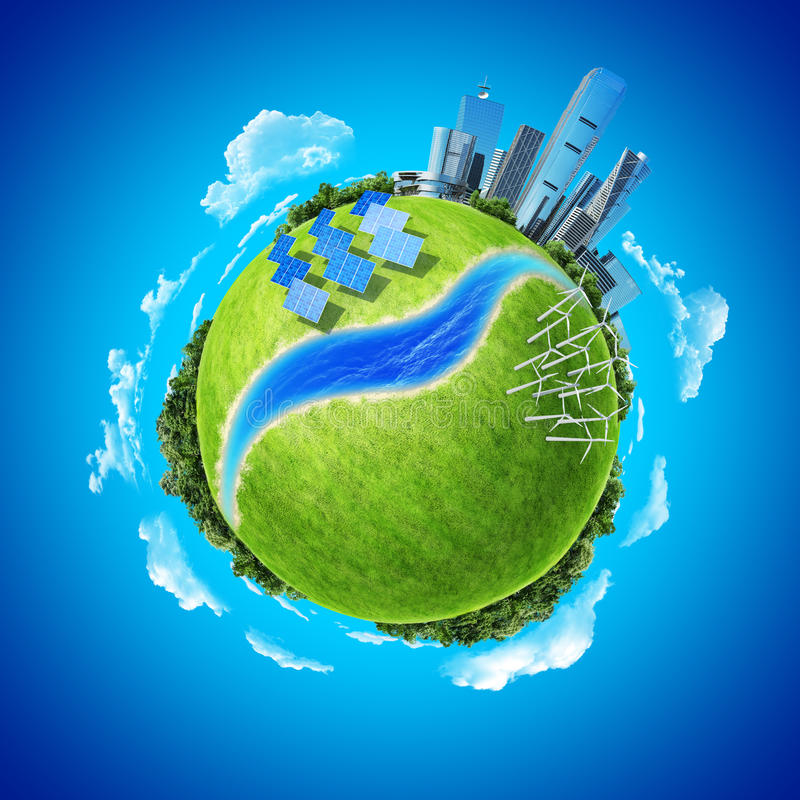 Mini energia do verde do conceito do planeta na cidade moderna ilustração stock