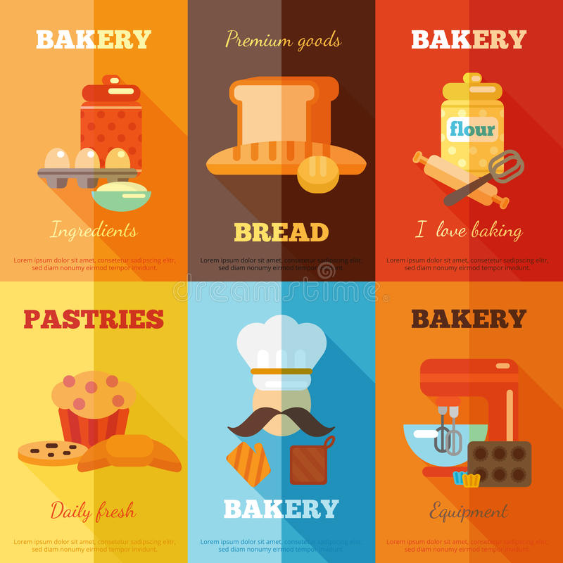 Mini ensemble d'affiche de boulangerie illustration de vecteur