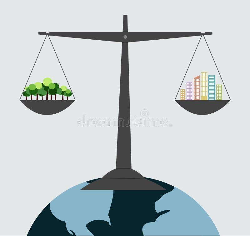 mini equilíbrio das árvores do verde do planeta com arranha-céus ilustração do vetor