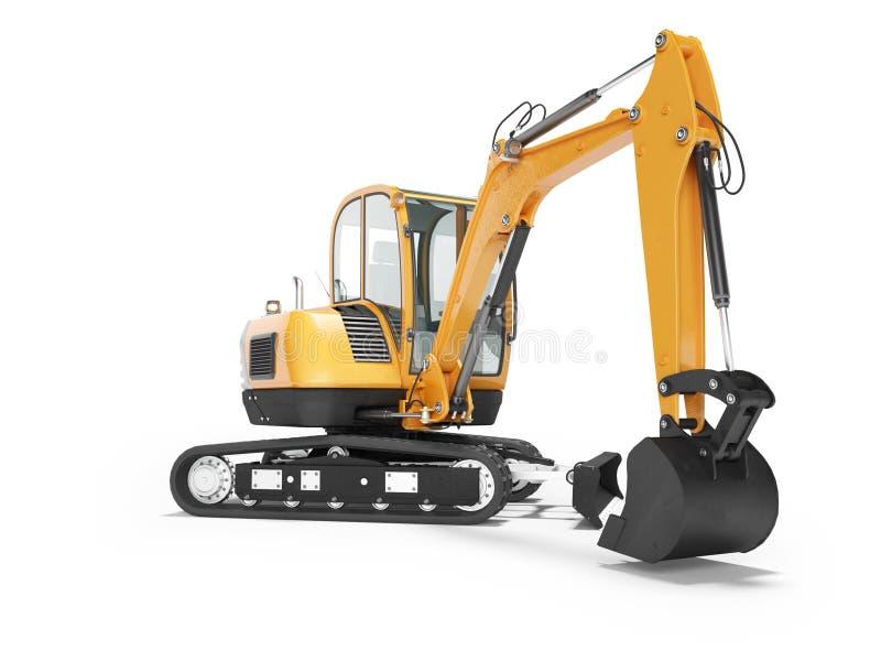 Mini escavatore arancio del cingolo sulla gomma di gomma con la cabina girata a sinistra 3d rendere su fondo bianco con ombra illustrazione di stock