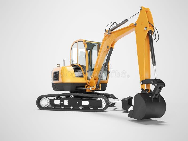 Mini escavatore arancio del cingolo sulla gomma di gomma con la cabina girata a sinistra 3d rendere su fondo grigio con ombra royalty illustrazione gratis