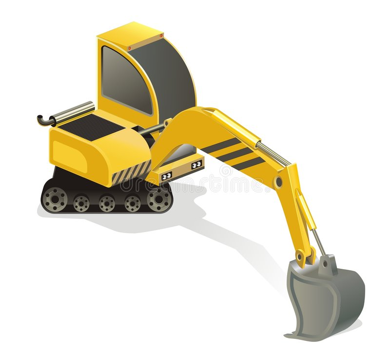 Mini Excavator. An illustration of a yellow mini-excavator, isolated on a white background royalty free illustration