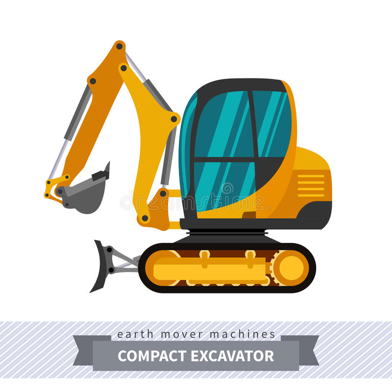 Mini excavator for earthwork operations vector illustration